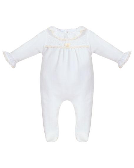 Velour Ruffle-Trim Footie Pajamas, Size 1-9 Months
