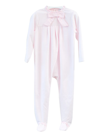 Velour Bow Footie Pajamas, Size 1-9 Months