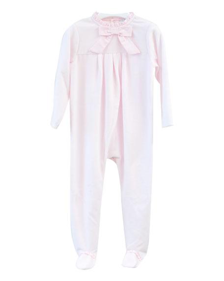 Patachou Velour Bow Footie Pajamas, Size 1-9 Months