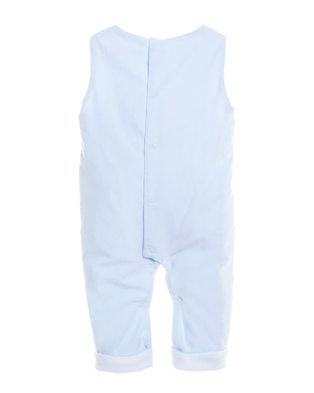 Pleated Cotton-Blend Overalls, Size 3-18 Months