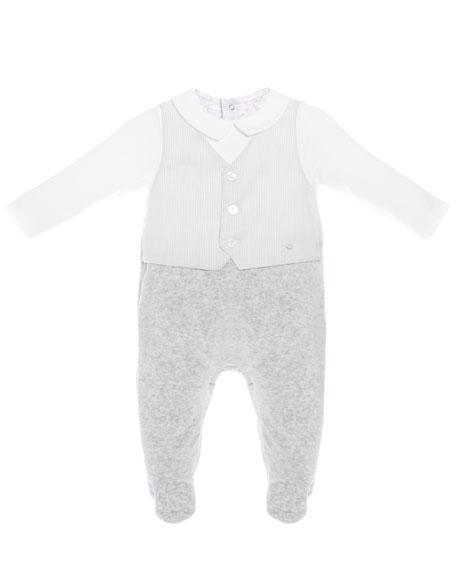 Patachou Mock-Vest Velour Footie Pajamas, Size 1-9 Months
