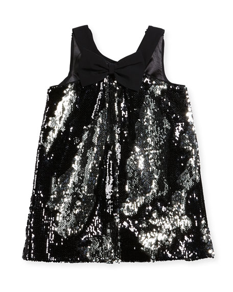 Kat Sequin Bow-Back Shift Dress, Size 8-16