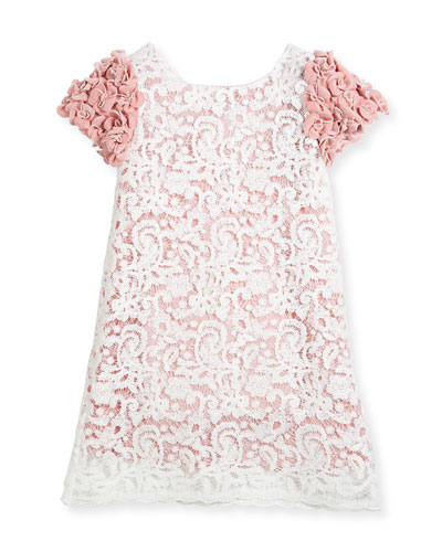 Celia Two-Tone Lace Dress w/ Rosette Sleeves, Size 2-4