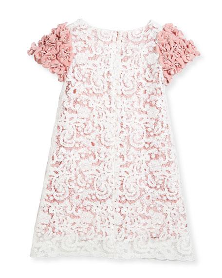 Celia Two-Tone Lace Dress w/ Rosette Sleeves, Size 10-14