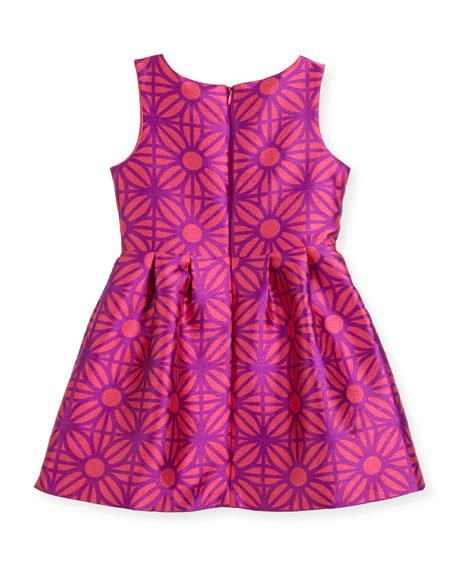 Sleeveless Daria Geo-Print Party Dress, Size 5-8