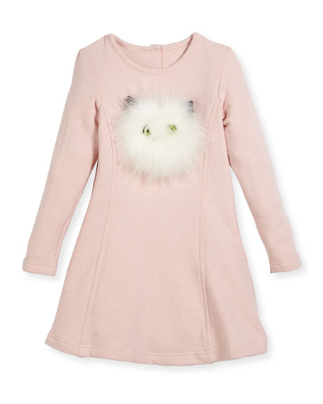 Charabia Long-Sleeve Knit Dress w/ Feather Kitty Face,