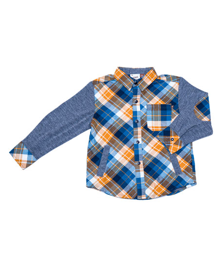 Plaid Patched-Elbows Shirt, Size 2-8