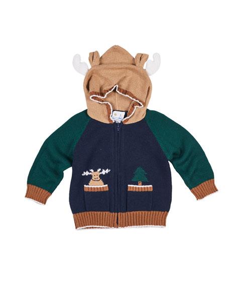 Florence Eiseman Knit Moose Hoodie Sweater, Size 6-24