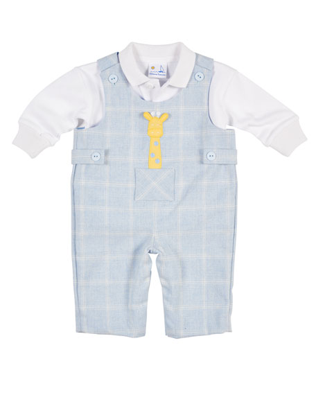 Tattersall Overalls w/Shirt, Size 3-12 Months