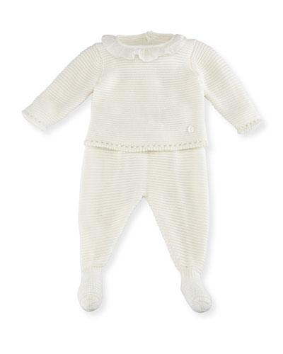 Ruffle-Collar Knit Top w/ Footed Pants, Size 1-6 Months