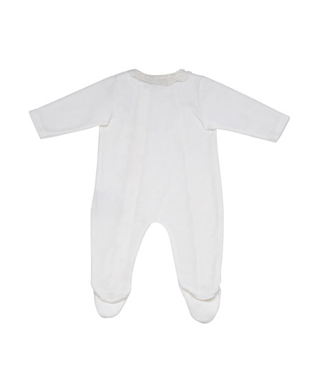 Velour Footie Pajamas w/ Lace Trim, Size 1-6 Months