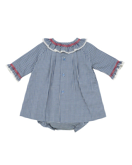 Pili Carrera Smocked & Ruffle Check Dress w/