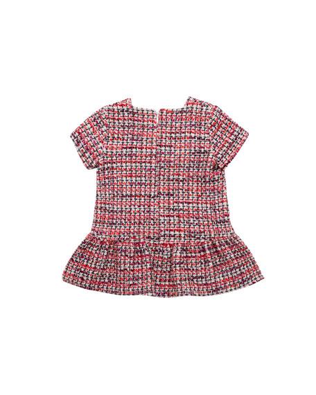 Short-Sleeve Tweed Dress w/ Fringe, Size 12M-6T