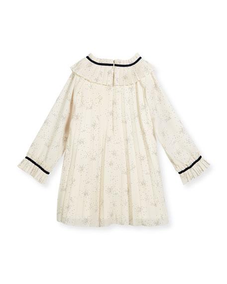 Splatter-Print Pleated Dress w/ Ribbon Trim, Size 12M-4T