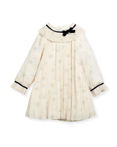 Pili Carrera Splatter-Print Pleated Dress w/ Ribbon Trim,