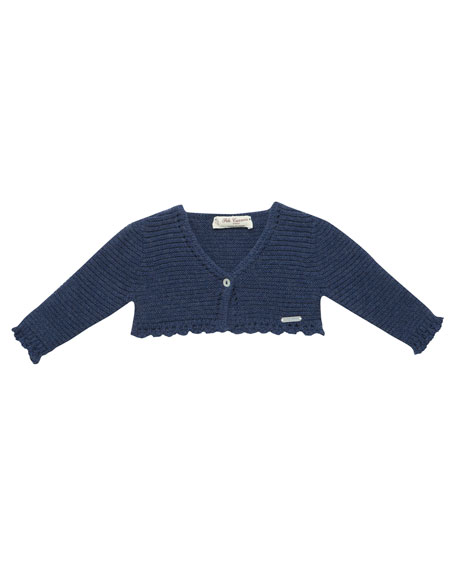 One-Button Cardigan w/ Crochet Trim, Size 3M-3T