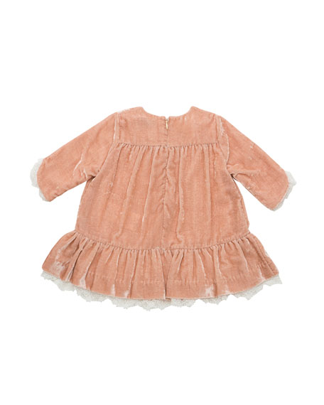 Pili Carrera Long-Sleeve Velvet Ruffle Dress w/ Lace Trim, Size 12M-4T