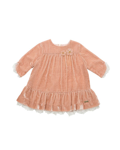 Long-Sleeve Velvet Ruffle Dress w/ Lace Trim, Size 12M-4T