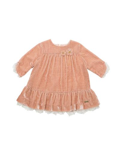 Long-Sleeve Velvet Ruffle Dress w/ Lace Trim, Size 12M-4T
