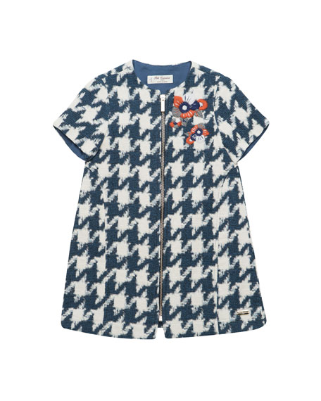 Zip-Front Houndstooth Dress, Size 4-8