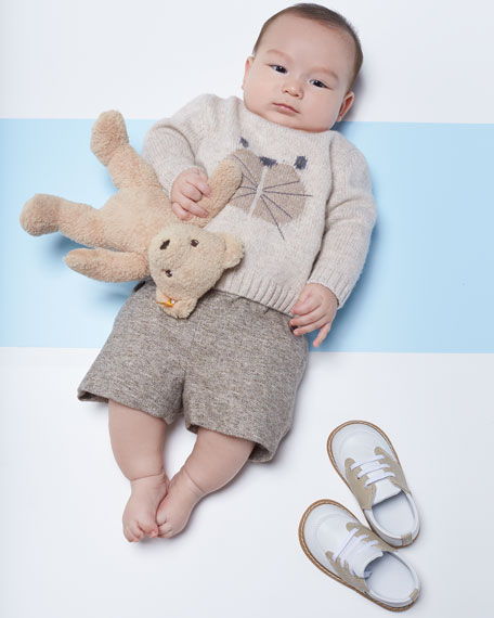 Knit Bear Intarsia Sweater, Size 12M-3T