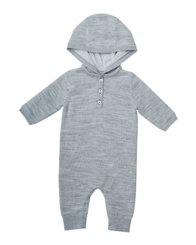 Wool Hooded Coverall, Size 3-12 Months