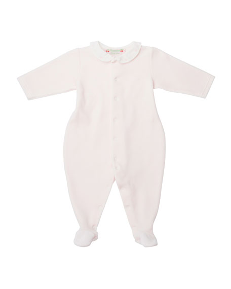 Bonpoint Velvet Embroidered Footie Pajamas, Pink, Size 1-6
