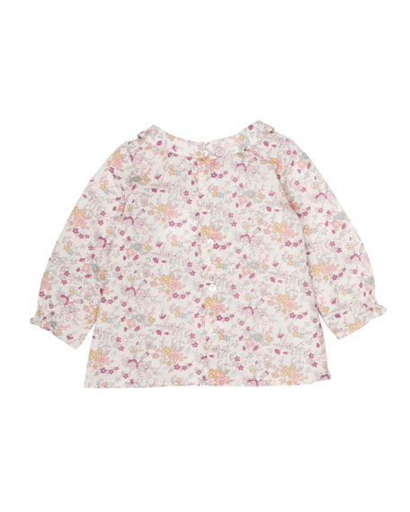Floral-Print Smocked Blouse, Size 6 Months-2T