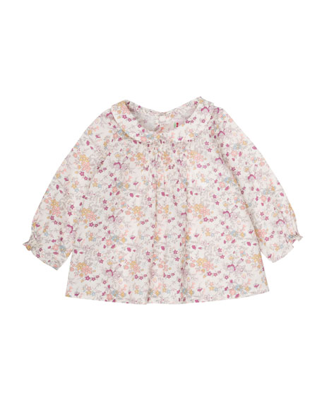 Bonpoint Floral-Print Smocked Blouse, Size 6 Months-2T