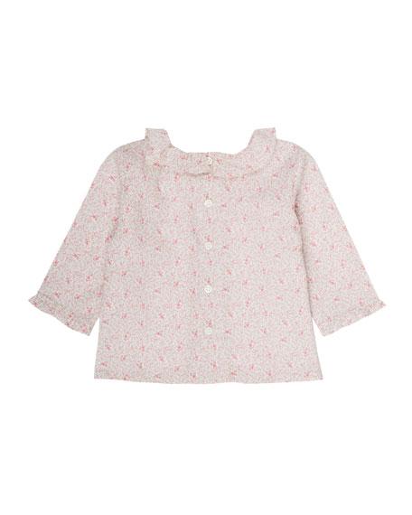 Bonpoint Floral-Print Liberty Blouse, Size 3 Months-2T
