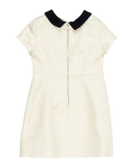 Glittered Dress w/ Contrast Velvet Collar, Size 4-8