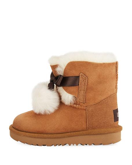 Gita Pompoms Shearling Fur Boot, Toddler