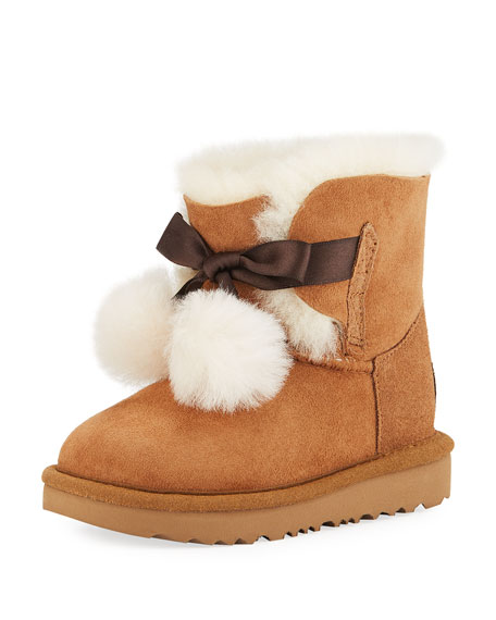 UGG Gita Pompoms Shearling Fur Boot, Toddler Sizes