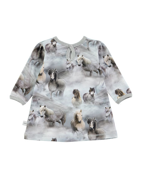 Caroline Long-Sleeve Horse Dress, Size 12-24 Months