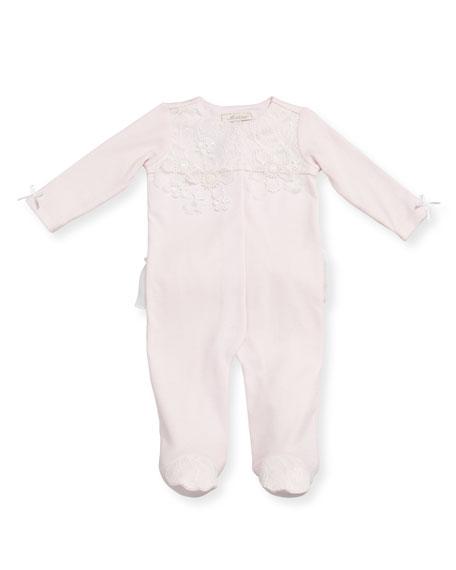 Miniclasix Ruffle & Lace Footie Pajamas w/ Flower