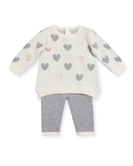 Miniclasix Heart Sweater w/ Leggings, Size 3-9 Months
