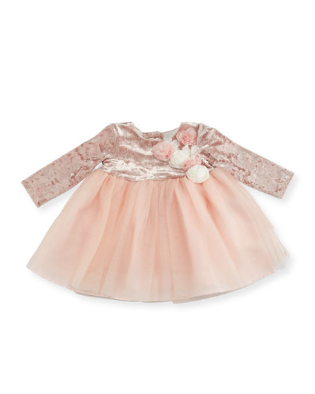 Long-Sleeve Dress w/ Floral Detail, Size 3-12 Months