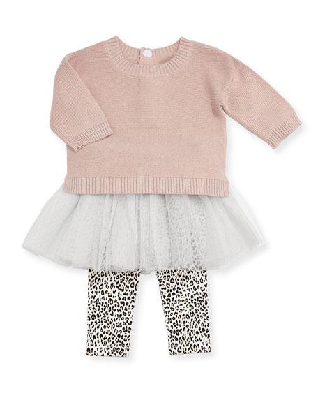 Miniclasix Metallic Knit Sweater w/ Leopard Tutu Leggings,