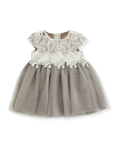 Miniclasix Cap-Sleeve Lace & Glitter Tulle Dress, Size