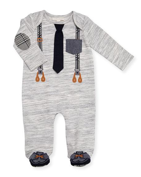 Miniclasix Mock-Suspenders Footie Pajamas, Size 3-9 Months