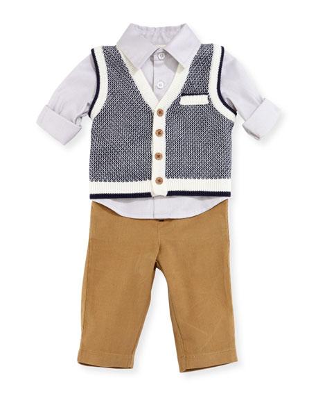Miniclasix Sweater Vest, Shirt & Pants Layette Set,