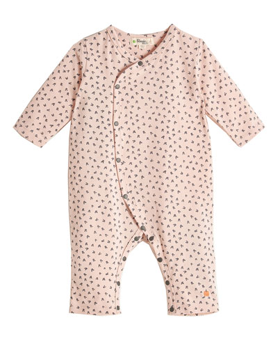 Kimono-Style Bunny-Print Coverall, Pink, Size 0-18 Months