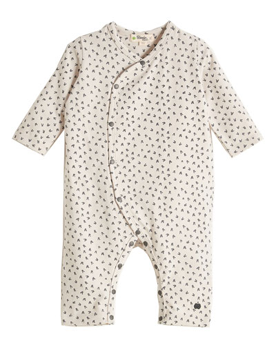 Kimono-Style Bunny-Print Coverall, Light Gray, Size 0-18 Months