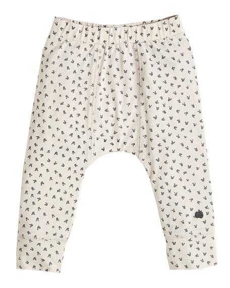 Bunny Print Leggings, Light Gray, Size 3-24 Months
