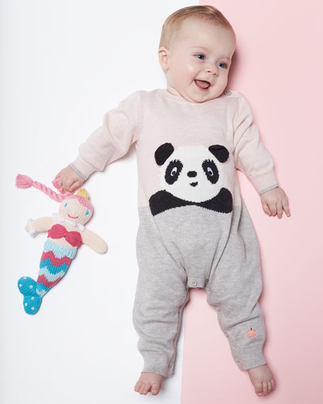 Panda Intarsia Knit Coverall, Light Pink, Size 0-18 Months