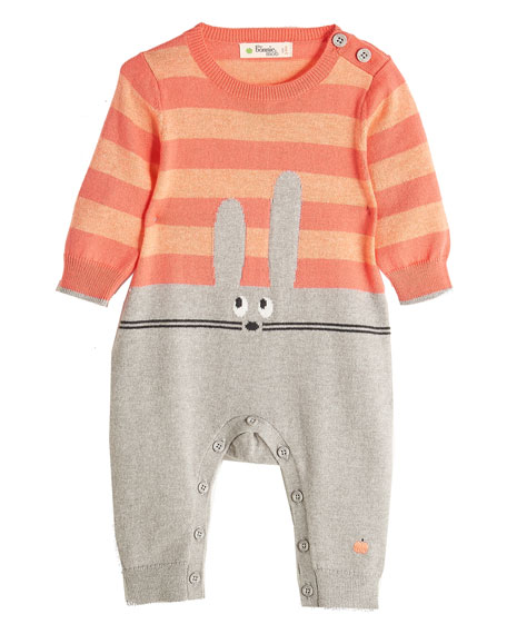 Bunny Intarsia Knit Coverall, Pink, Size 0-18 Months