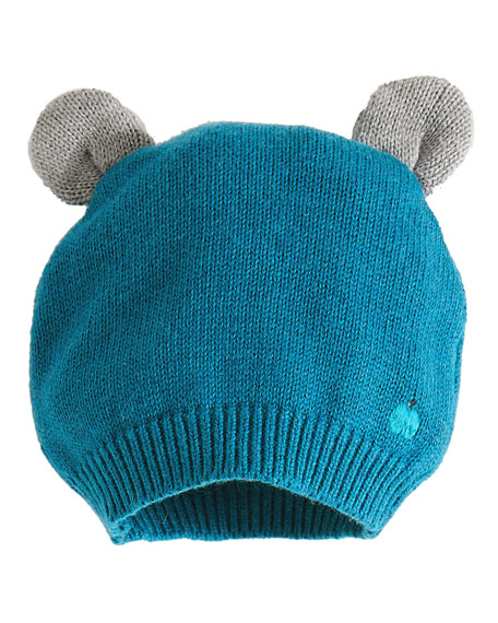 Knit Baby Hat w/ Ears, Teal