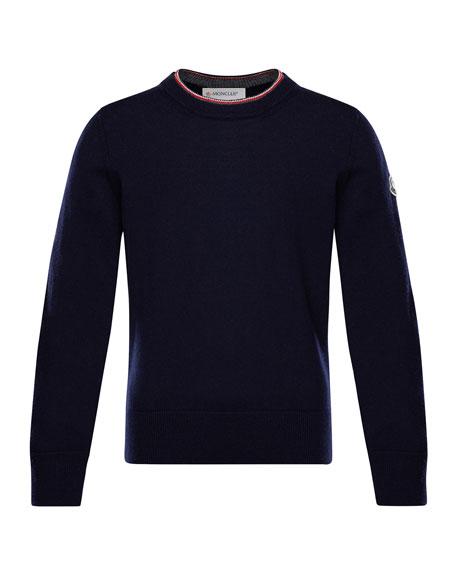 Moncler Maglia Virgin Wool Long-Sleeve Sweater, Size 4-6