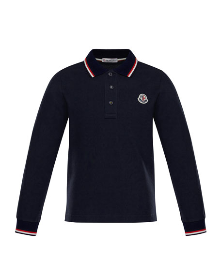 Long-Sleeve Logo Polo, Size 8-14