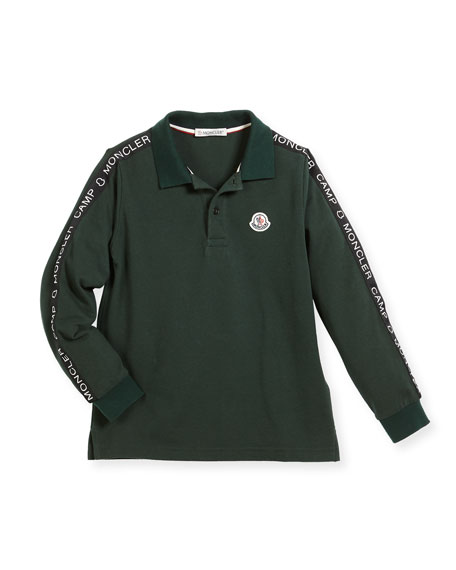 Moncler Maglia Long-Sleeve Logo Polo, Size 4-6 and